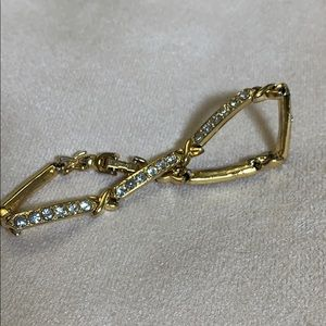 Rhinestones and Gold Toned Bracelet